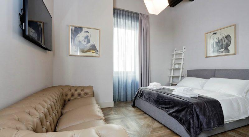 ローマの滞在型アパートバジリコの寝室